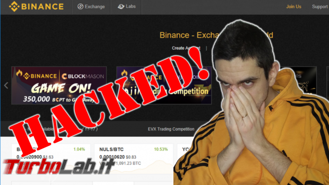 Hanno hackerato Binance! Rubati 7.000 Bitcoin (video) - binance hacked spotlight PNG