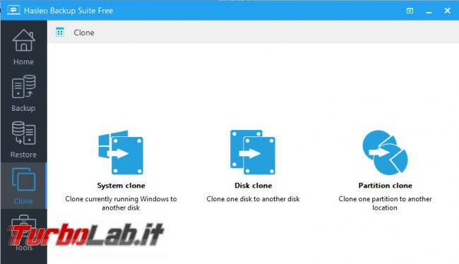 Hasleo Backup Suite Free crea copie backup disco