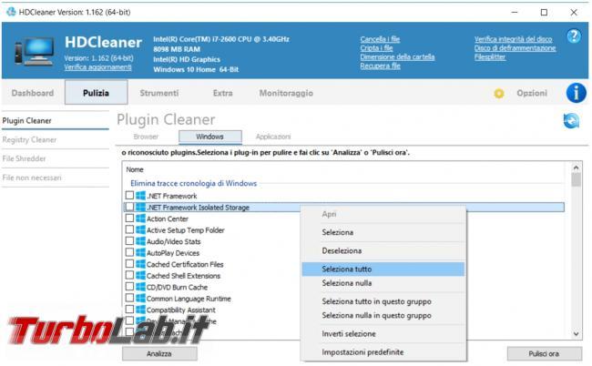 HDCleaner tutto fare pulizia, manutenzione raccolta informazioni computer