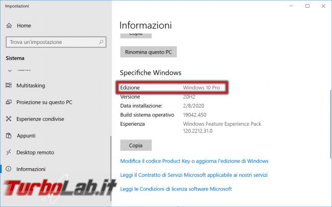 Ho Windows 10 Home Pro? Come vedere quale versione (edizione) Windows 10 è installata PC - impostazioni sistema informazioni windows 10 edizione
