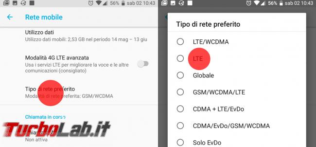 ho. mobile: configurazione Internet smartphone Android 3G/4G LTE (APN altri parametri) - android tipo di rete preferito LTE