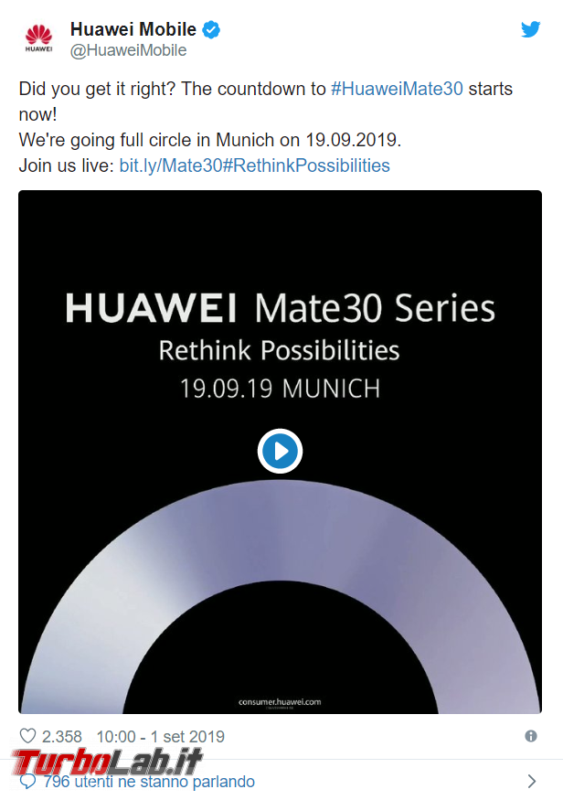 Huawei presenterà nuova serie Mate 30 Monaco Baviera - FrShot_1567428695