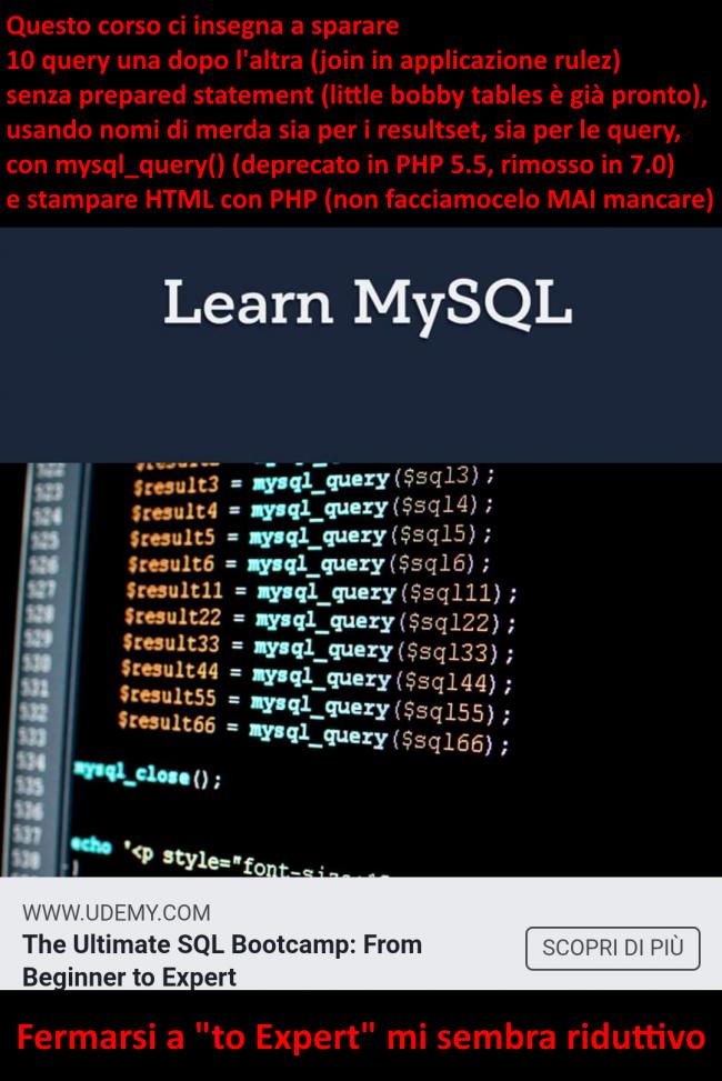 Humour meme informatici, programmatori smanettoni - corso udemy php mysql