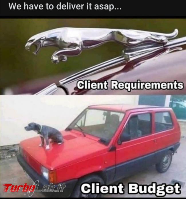 Humour meme informatici, programmatori smanettoni - jaguar client budget