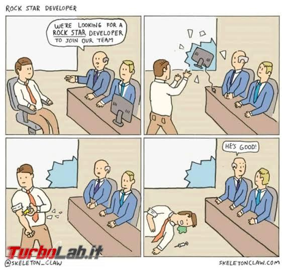 Humour meme informatici, programmatori smanettoni - rockstar developer