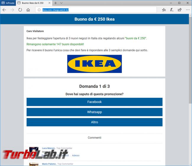 ikea.com-cheap.net è virus/spam WhatsApp: attenzione non cliccare!