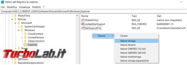 Impedire modifiche menu Start Windows 10