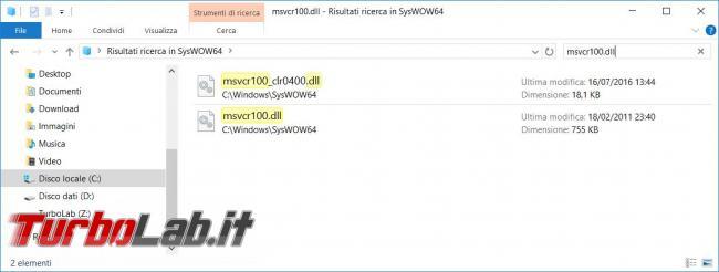 Impossibile avviare programma perché MSVCR100.dll non è presente computer - Come risolvere l'errore Msvcr100.dll mancante Windows 10 64 Bit