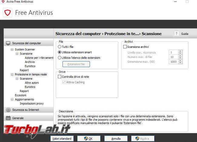 Impostazioni Avira Free: come configurarlo meglio bilanciare protezione performance - Utilizza estensioni smart