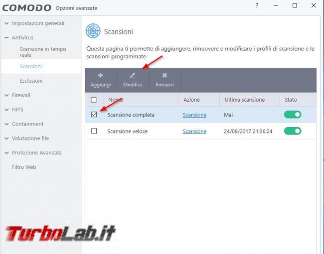 Impostazioni COMODO Internet Security: come configurarlo meglio - Scansione completa COMODO