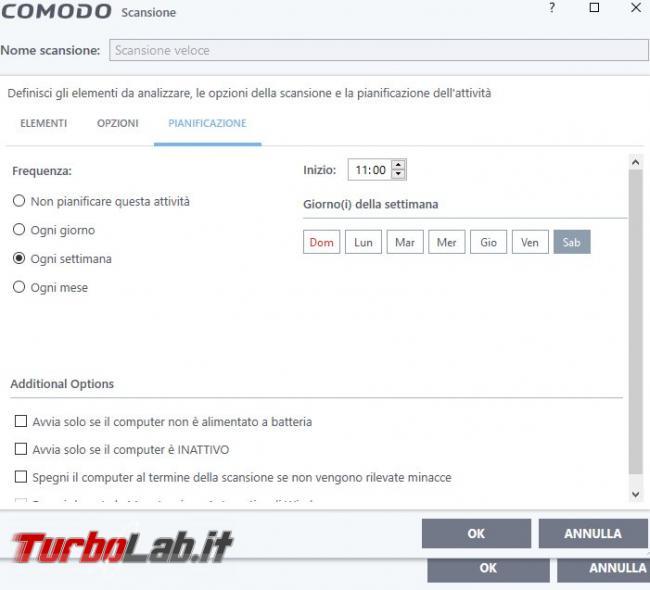 Impostazioni COMODO Internet Security: come configurarlo meglio - Scansione veloce configurata