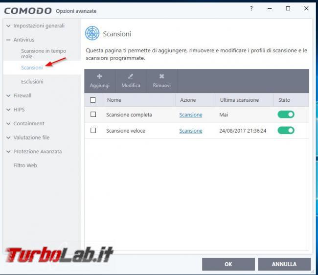 Impostazioni COMODO Internet Security: come configurarlo meglio - Scansioni programmate
