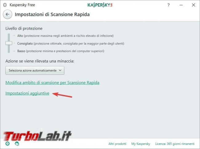 Impostazioni Kaspersky Free: come renderlo efficace qualsiasi PC rischio infezioni - Impostazioni aggiuntive