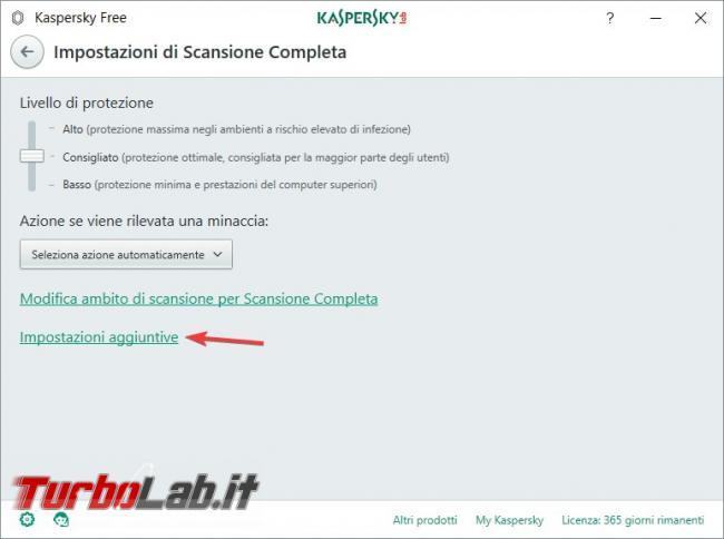 Impostazioni Kaspersky Free: come renderlo efficace qualsiasi PC rischio infezioni - Impostazioni aggiuntive full scan