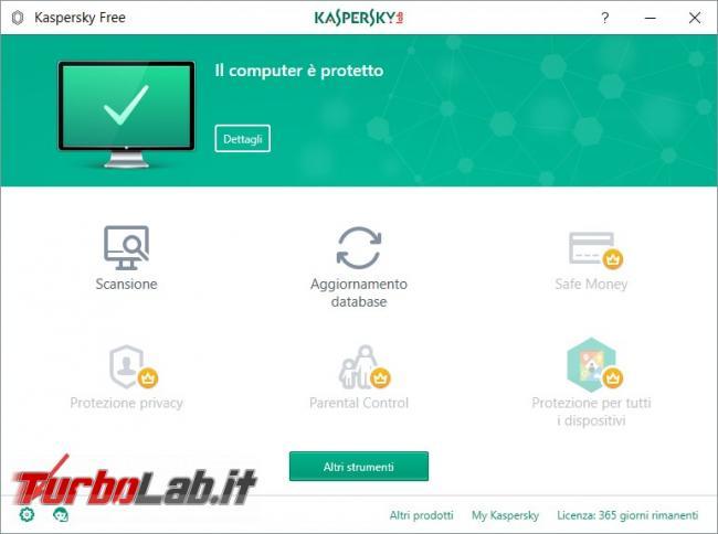 Impostazioni Kaspersky Free: come renderlo efficace qualsiasi PC rischio infezioni - Ingranaggio Kaspersky