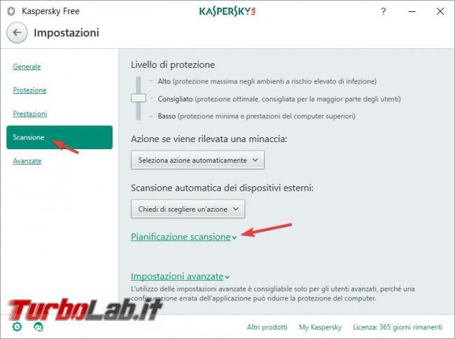Impostazioni Kaspersky Free: come renderlo efficace qualsiasi PC rischio infezioni - Pianificazione scansione