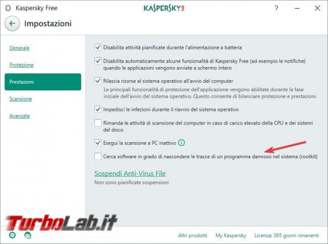 Impostazioni Kaspersky Free: come renderlo efficace qualsiasi PC rischio infezioni - Scansione rootkit