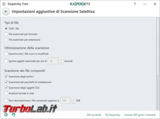 Impostazioni Kaspersky Free: come renderlo efficace qualsiasi PC rischio infezioni - Scansione selettiva