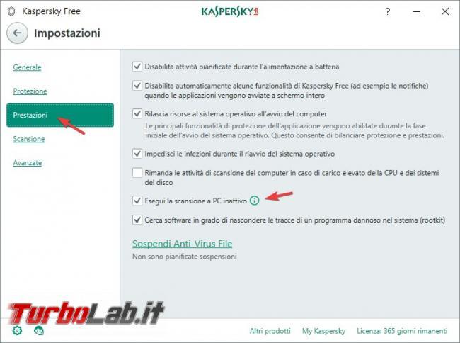 Impostazioni Kaspersky Free: come renderlo efficace qualsiasi PC rischio infezioni - Scansioni a PC inattivo