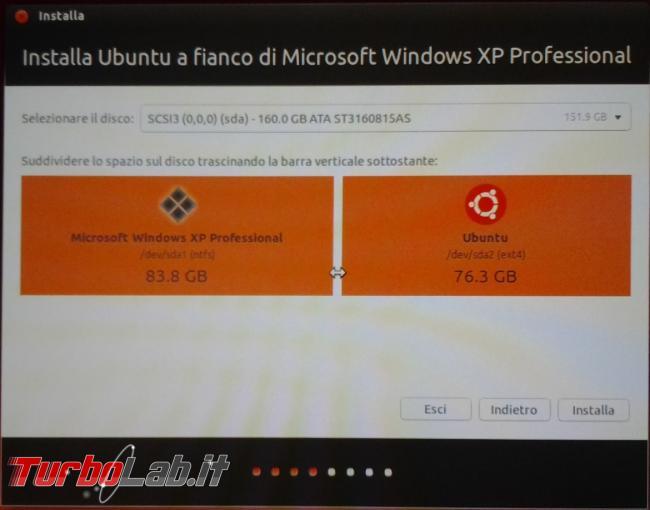 Installare Ubuntu dual boot Windows