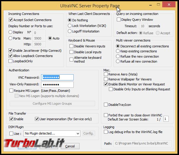 Installare UltraVNC controllare PC Windows remoto - ultravnc_settings_02