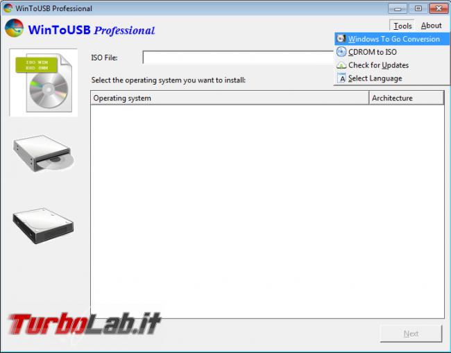 "Installare Windows ""Live"" chiavetta USB, avviabile ogni computer: guida WinToUSB - ToolsWTGConversion"