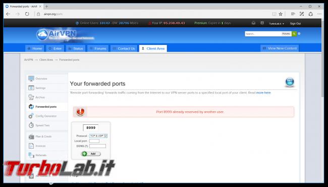 Internet/BitTorrent anonimo: Grande Guida VPN - airvpn apertura porta failed