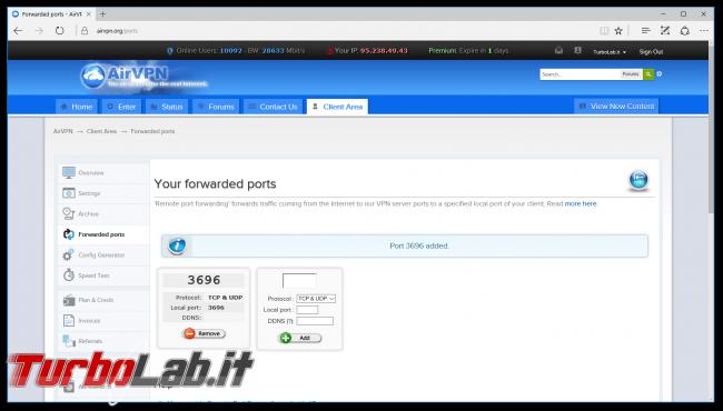Internet/BitTorrent anonimo: Grande Guida VPN - airvpn apertura porta ok