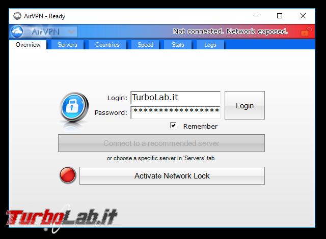 Internet/BitTorrent anonimo: Grande Guida VPN - AirVPN client eddy