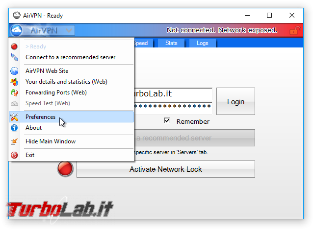 Internet/BitTorrent anonimo: Grande Guida VPN - AirVPN client eddy preferences