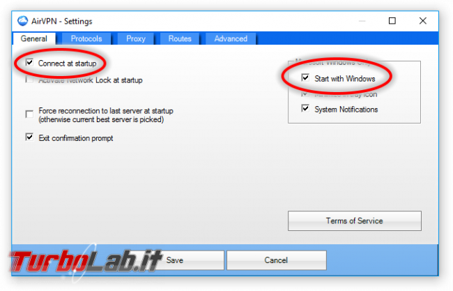 Internet/BitTorrent anonimo: Grande Guida VPN - AirVPN - Settings avvio automatico
