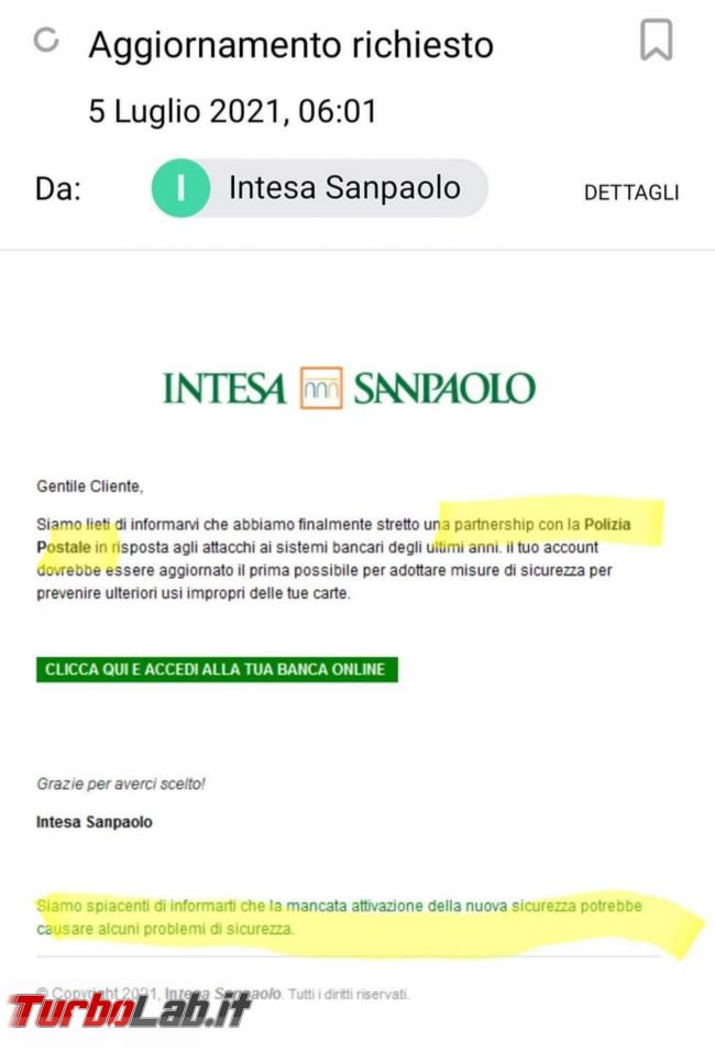 Intesa Sanpaolo partnership Polizia Postale: subdola campagna phishing via email - Screenshot_20210706-150515