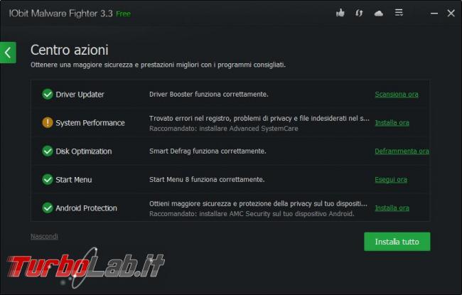 IObit Malware Fighter messo prova TurboLab.it