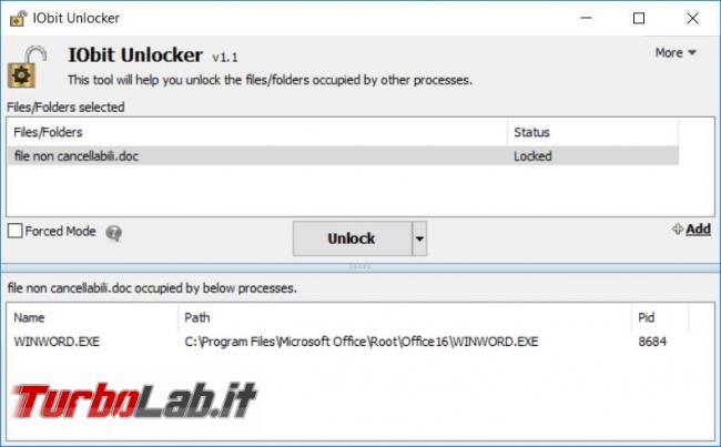 Iobit Unlocker elimina tutti file cartelle non si lasciano cancellare