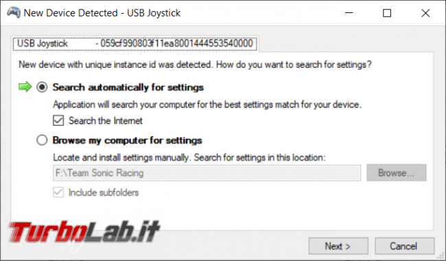 Joystick Gamepad Direct Input XInput: come emulare controller Xbox Windows - New_device_detected