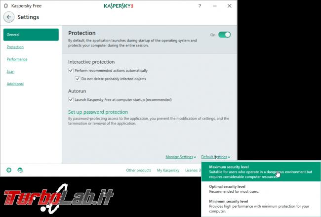 Kaspersky Free, download prova 2017: antivirus gratis funziona bene protegge PC gratuitamente (test completo) - kaspersky configurazione livello sicurezza