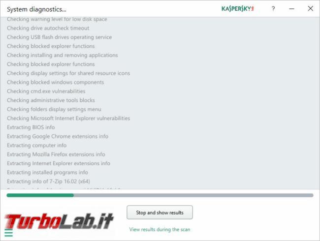 Kaspersky System Checker controlla, non risolve, problemi computer