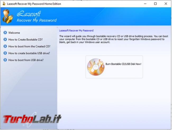 Lazesoft Recovery My Password cancelli tutte password dimenticate account Windows