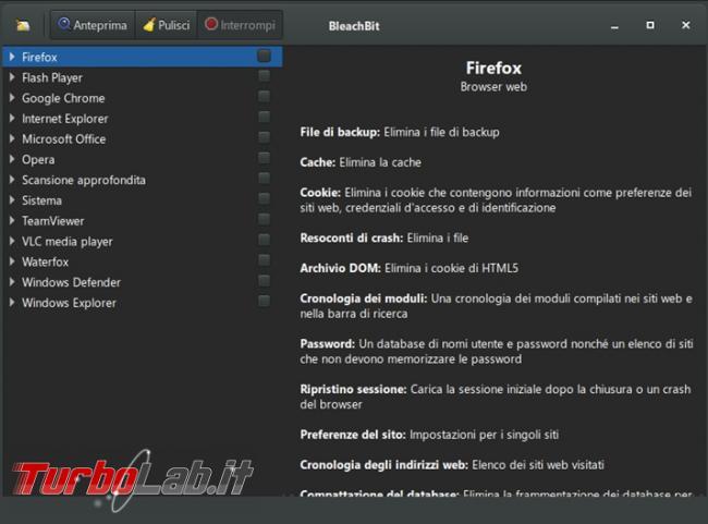 Libera spazio disco fisso aumenta privacy Bleachbit 4