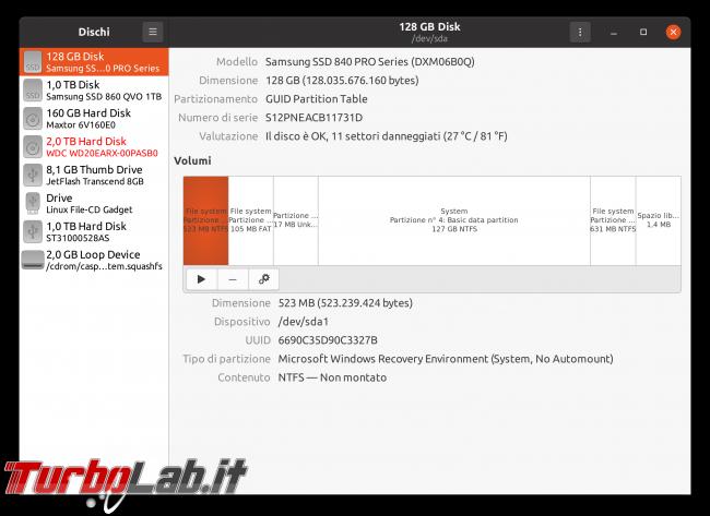 Linux test SSD: come testare disco fisso/USB rilevare problemi, guasti, errori ( Live CD/USB linea comando) - Schermata da 2020-05-01 16-27-42