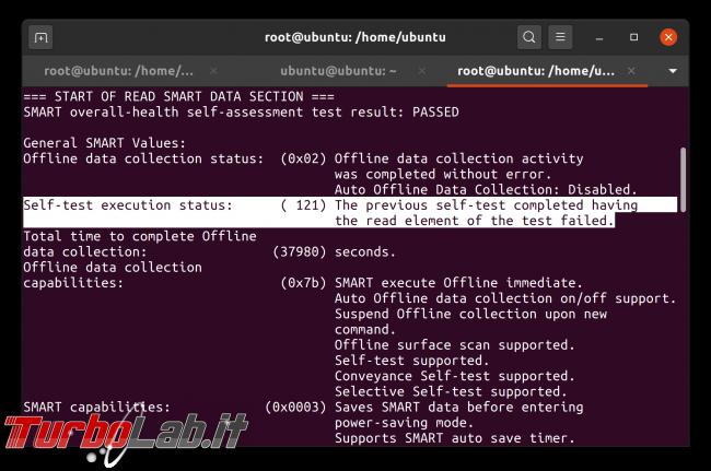 Linux test SSD: come testare disco fisso/USB rilevare problemi, guasti, errori ( Live CD/USB linea comando) - Schermata da 2020-05-02 08-44-57