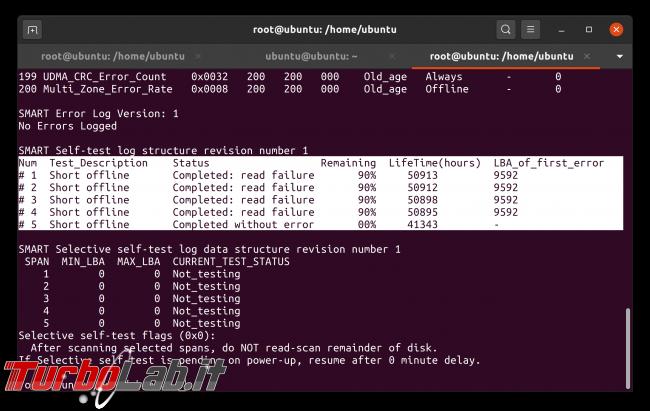 Linux test SSD: come testare disco fisso/USB rilevare problemi, guasti, errori ( Live CD/USB linea comando) - Schermata da 2020-05-02 08-48-37