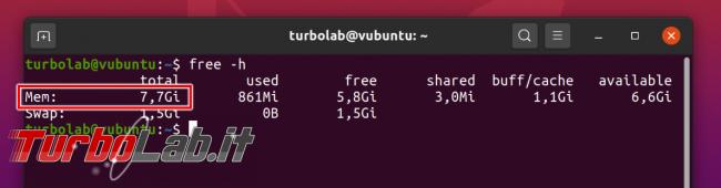 Linux (Ubuntu 20.04): come vedere quanta memoria RAM ha PC ( linea comando)