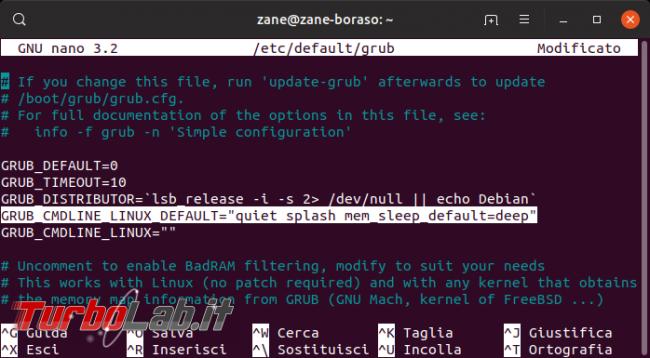 Linux / Ubuntu notebook: migliorare durata batteria attivando sospensione S3, Suspend-to-RAM (STR, S2RAM, deep) - mem_sleep_default deep