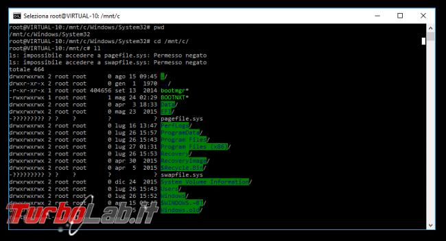 Linux Windows 10: Grande Guida WSL2. Come installare Sottosistema Windows Linux (WSL), eseguire programmi, accedere file - bash windows 10 ll