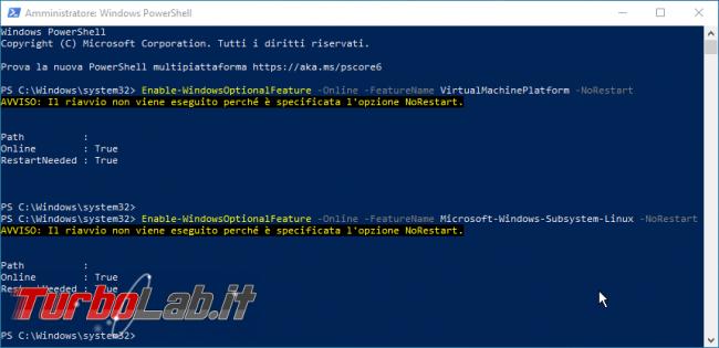 Linux Windows 10: Grande Guida WSL2. Come installare Sottosistema Windows Linux (WSL), eseguire programmi, accedere file - powershell Enable-WindowsOptionalFeature