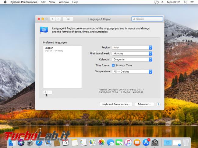 Mac italiano: come tradurre interfaccia macOS 11 - VirtualBox_macOS_09_10_2017_11_51_02