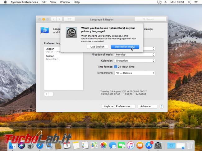 Mac italiano: come tradurre interfaccia macOS 11 - VirtualBox_macOS_09_10_2017_11_51_28