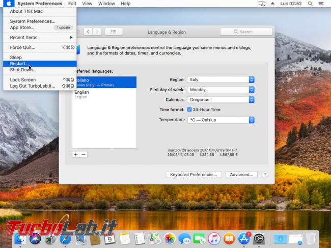 Mac italiano: come tradurre interfaccia macOS 11 - VirtualBox_macOS_09_10_2017_11_52_09
