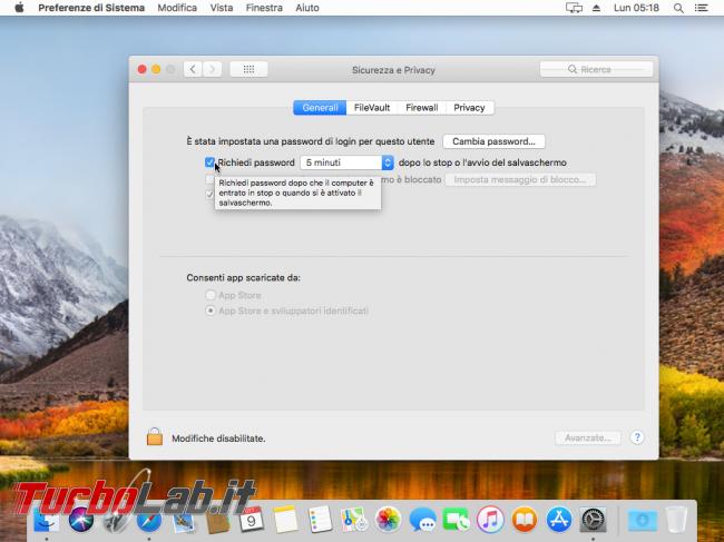 macOS High Sierra: come impedire/disattivare blocco automatico (richiesta password) quando Mac non viene usato (inattività) - VirtualBox_macOS_09_10_2017_14_18_26
